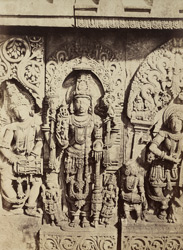 [Close view of sculptured figures on the (?)west front of the Hoysalesvara Temple, Halebid.]